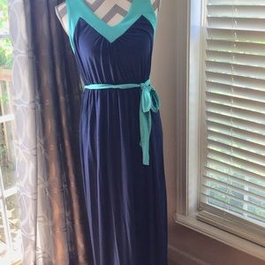 Turquoise & Navy Blue Maxi Dress